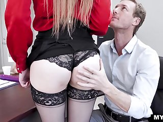 Voluptuous milf boss Lauren Phillips gets a mouthful of cum after hardcore sex on the table