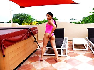 Nice Latin babe Ella Cruz is finger fucking wet yummy snatch by the pool