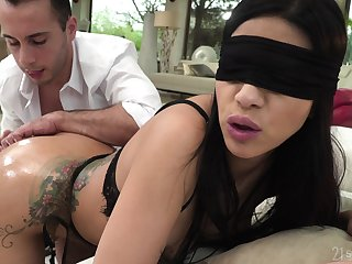 Blind folded woman feels it in the ass, and she loves it
