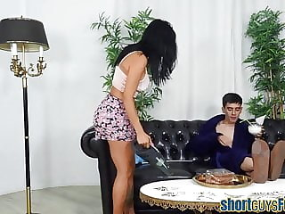 Latina blows short guy after squirting during anal